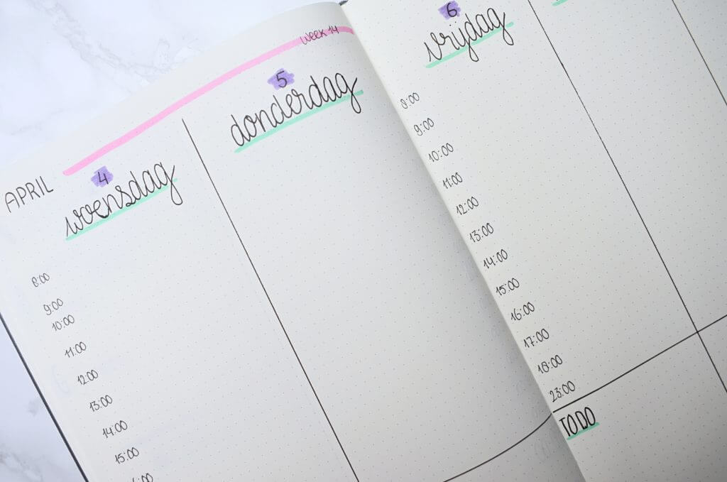 bullet journal setup voor april