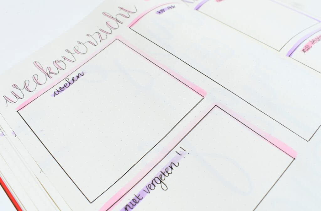 bullet journal setup voor juli