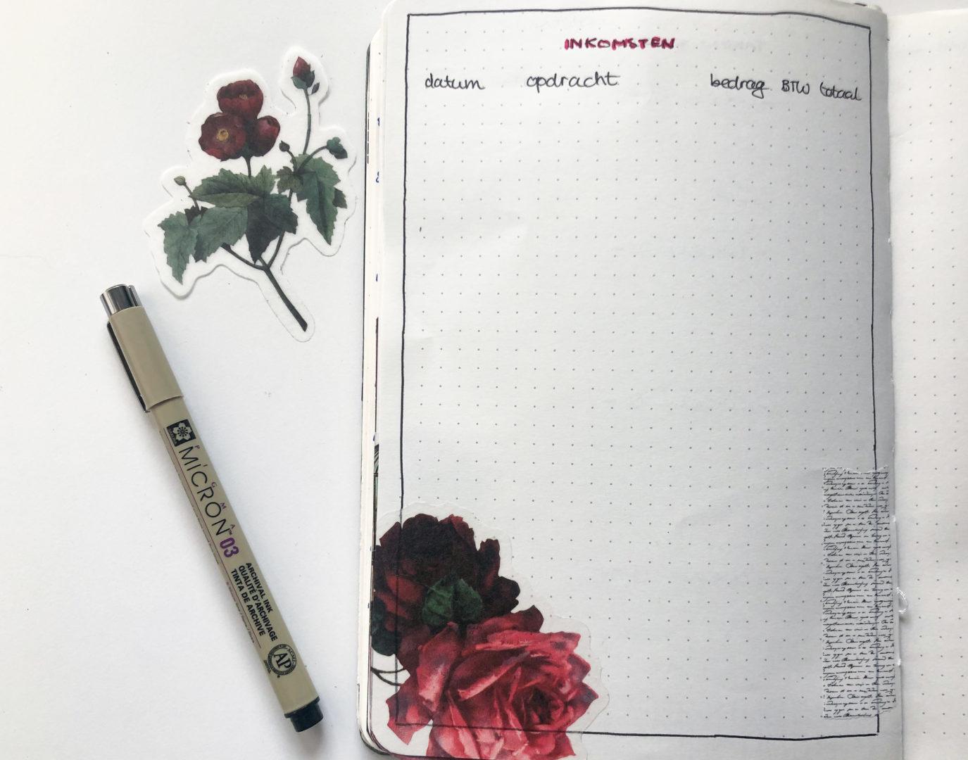 februari bullet journal inkomsten