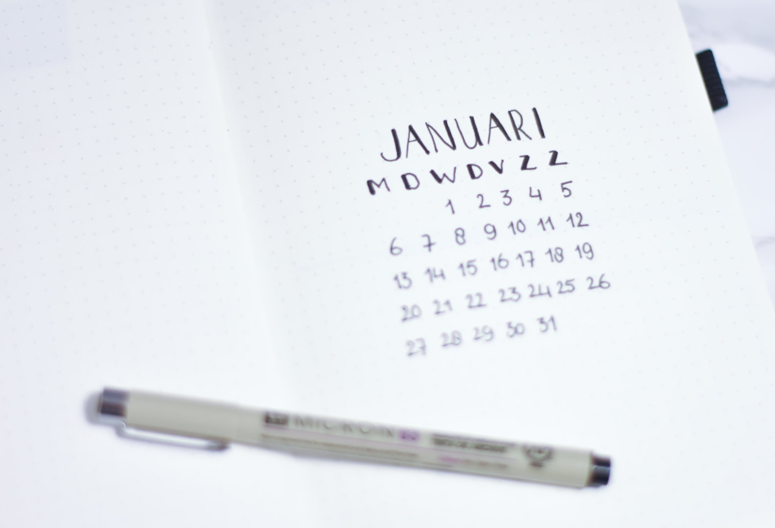 voorpagina januari bullet journal