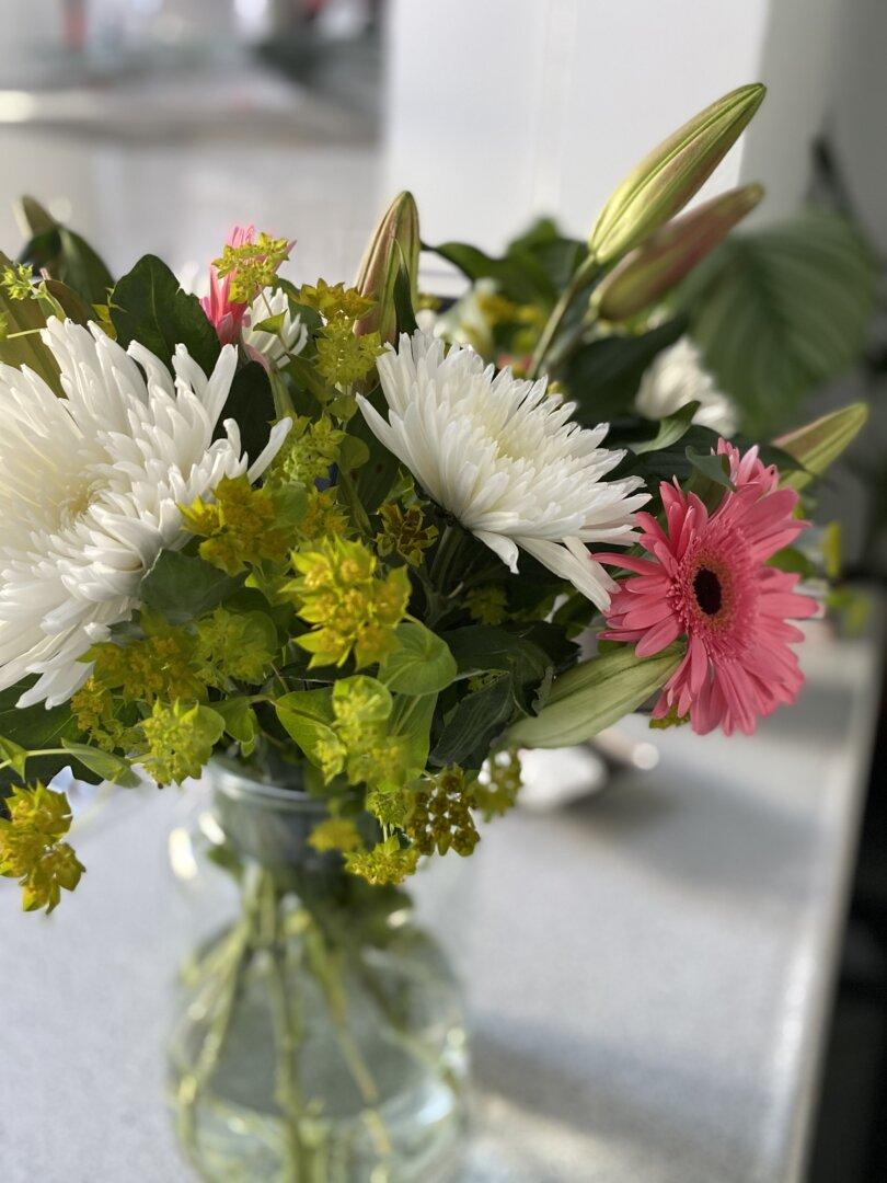 mooie bos bloemen gekregen
