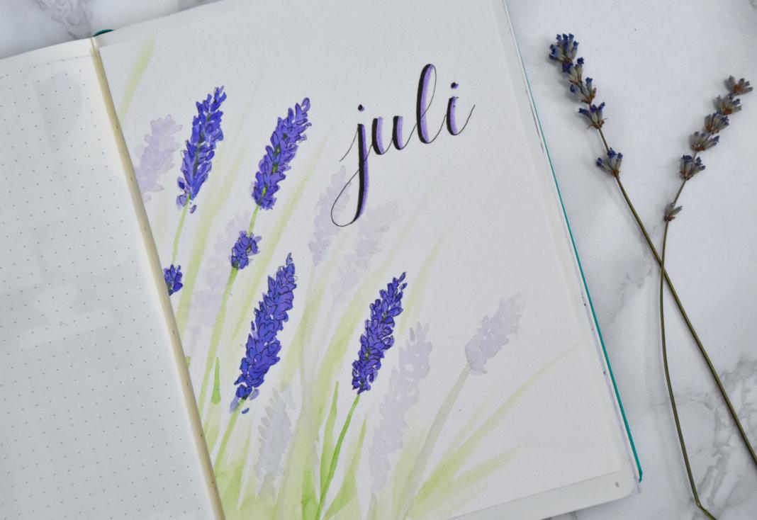 setup van mijn bullet journal in juli